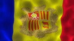 Wavinb Flag Andorra Stock Footage