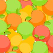 Seamless Pattern Background from Apple, Orange and Pear  Vector - stock illustration