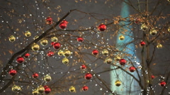 Christmas decorations on the streets of the city. Stock Footage