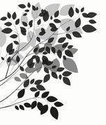 Stock Illustration of Beautiful Tree Silhouette on a White Background Vector Illustrat