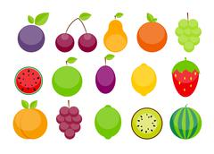 Apple, Orange, Plum, Cherry, Lemon, Lime, Watermelon, Strawberri - stock illustration