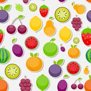 Seamless Pattern Background from Apple, Orange, Plum, Cherry - stock illustration