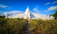 panorama of Hsinbyume pagoda, Mingun, Mandalay, Myanmar - stock photo