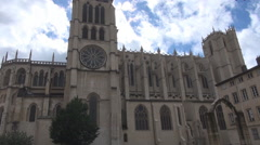 Stock Video Footage of Full view of Lyon cathedral, Lyon France city landmark, beautiful clouds above