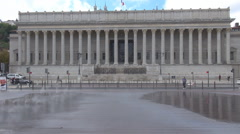 Cour d'appel, full zise court of appeal, court of law building Lyon, France flag - stock footage