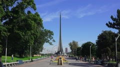 The Monument to the Conquerors of Space in Moscow, Russia. Stock Footage