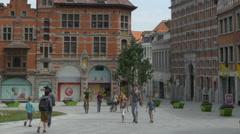 Street Scene - Tournai Belgium Stock Footage
