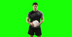 Stock Video Footage of Serious rugby player with ball