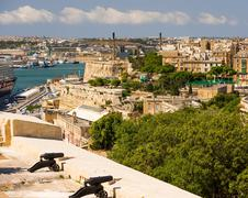 view on Valletta from sea - stock photo