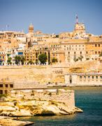 View of Valletta from sea Stock Photos
