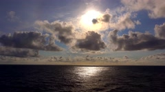 Sunset Over the Pacific Ocean From The Deck of a Cruise Ship at Sea Stock Footage