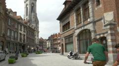 Teenage Boys walking along the street - Tournai Belgium Stock Footage