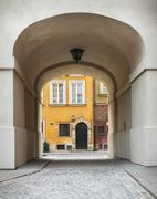 Archway in a street of Warsaw Stock Photos