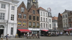 Buildings around the Grote Market - Kortrijk Belgium Stock Footage