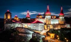 nighttime view on Kamenetz-Podolsky fortress - stock photo