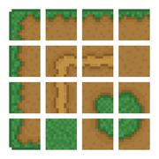 Stock Illustration of Box game level vector objects - land, bush, road, forest