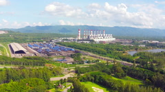 Aerial view of lignite power plant in lampang thailand - stock footage