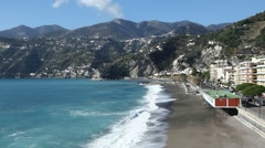 Best view of the coast of Maiori in Amalfi coast, Italy. Stock Footage