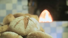 Bread baked in wood oven - stock footage