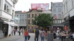 Pedestrian shopping area - Kortrijk Belgium Stock Footage