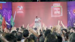 Alexris Tsipras,people clapping cheering,last pre electional speech 2015 Stock Footage