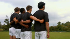 Rugby team lining up Stock Footage