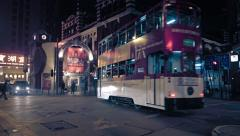 Nighttime cityscape of Hong Kong, with Western Market Stock Footage