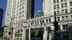 Chicago old highrise Wrigley Building pan Stock Footage