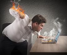 Businessman fiery rage - stock photo