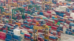 Abstract of container yard operations in timelapse, at a seaport in Singapore Stock Footage