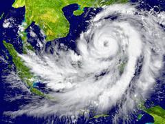 Hurricane near Southeast Asia Stock Illustration