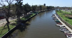 Aerial drone scene of Tiger River in the suburbs of Buenos Aires. Stock Footage