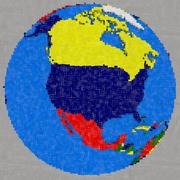 Drawing of north America on Earth Stock Illustration