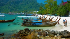 Popular tropical beach on Phi Phi Island in Thailand Stock Footage