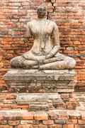 Old Buddha Statue at Wat Chaiwatthanaram Ayutthaya ,Thailand - stock photo