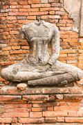 Old Buddha Statue at Wat Chaiwatthanaram Ayutthaya ,Thailand Stock Photos