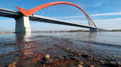 Cable-stayed bridge Bugrinskiy over river Ob in Novosibirsk Stock Footage