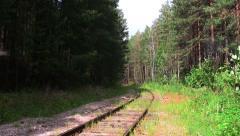 Empty railway road in the forest Stock Footage
