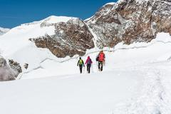 Group of climbers walking on a glacier. - stock photo