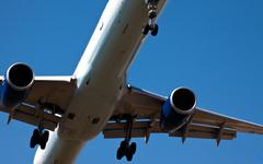 Landing airplane Stock Photos