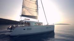 Yacht Sailing Against Sunset Stock Footage