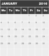Stock Illustration of Classic month planning calendar - January 2016
