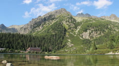 Poprad lake in High Tatras mountains Stock Footage