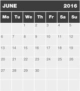 Classic month planning calendar - June 2016 - stock illustration