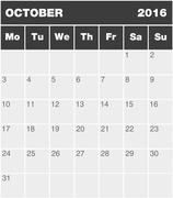 Classic month planning calendar - October 2016 - stock illustration