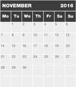 Stock Illustration of Classic month planning calendar - November 2016