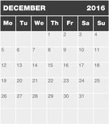Stock Illustration of Classic month planning calendar - December 2016
