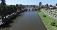Aerial drone scene of Tiger River in the suburbs of Buenos Aires Stock Footage