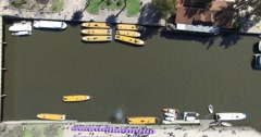 Aerial top view of Tiger canal. Boats are traveling and anchoring in the canal. Stock Footage