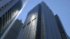 Sun reflecting glas highrises in Chicago Stock Footage